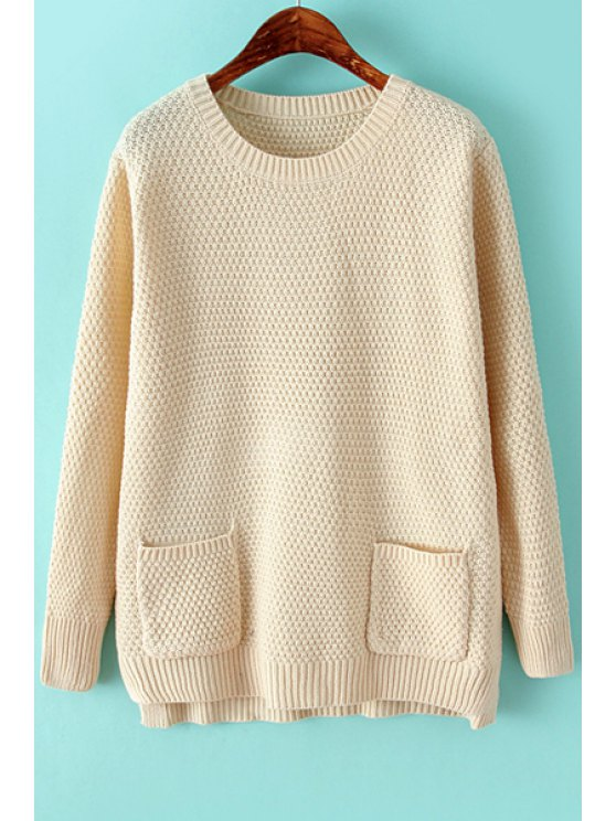 hot Solid Color Long Sleeve Pocket Sweater - OFF-WHITE ONE SIZE(FIT SIZE XS TO M)