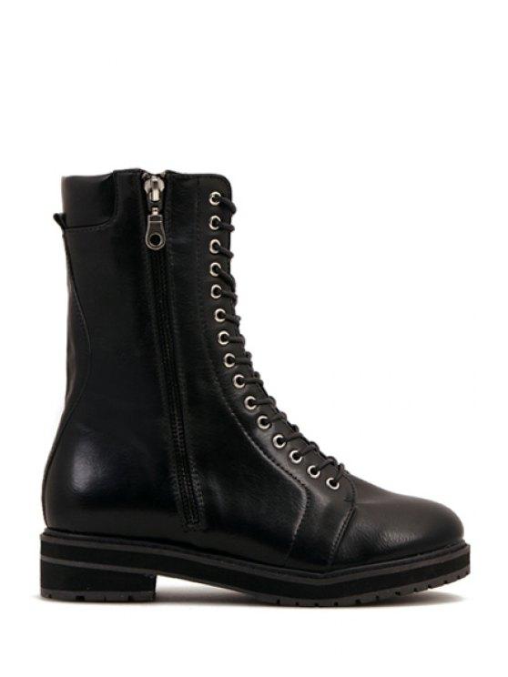 women's Black Round Toe Lace-Up Combat Boots - BLACK 35