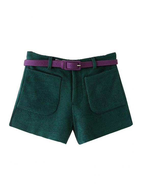 outfit Solid Color High Waisted Worsted Shorts - GREEN S