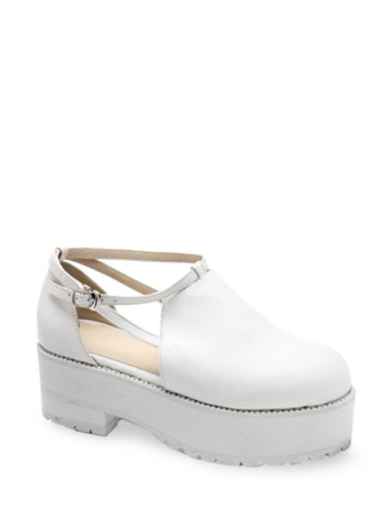 chic Hollow Out Chunky Heel Platform Shoes - WHITE 38