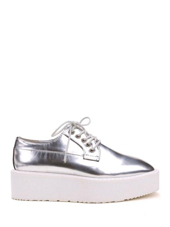 women Patent Leather Square Toe Platform Shoes - SILVER 35
