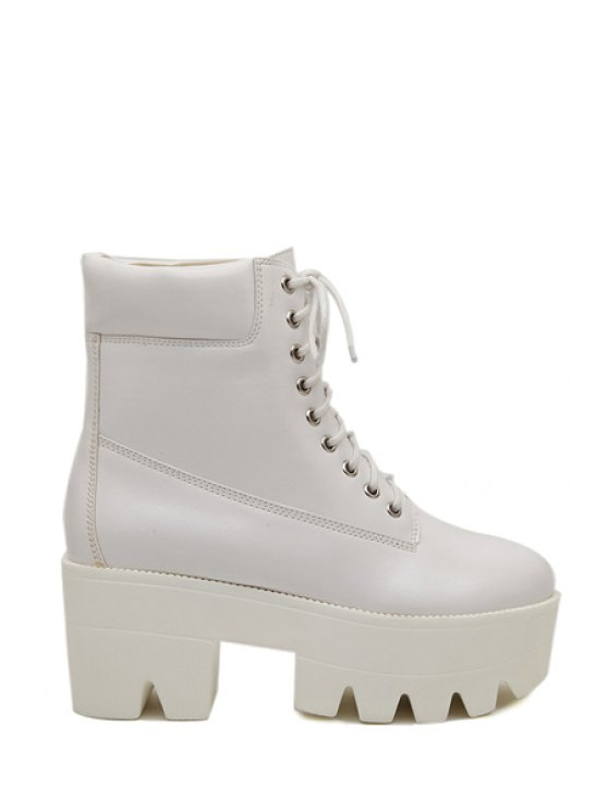 hot Chunky Heel Platform Lace-Up Boots - WHITE 35