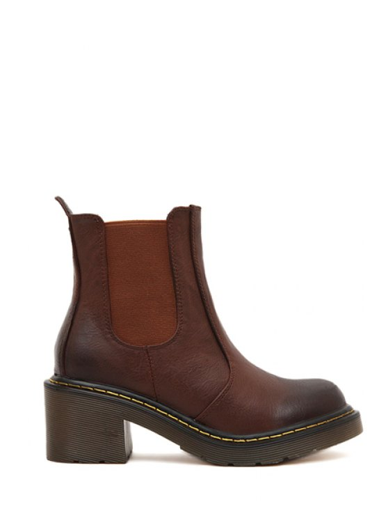 latest Elastic Chunky Heel Round Toe Boots - BROWN 35