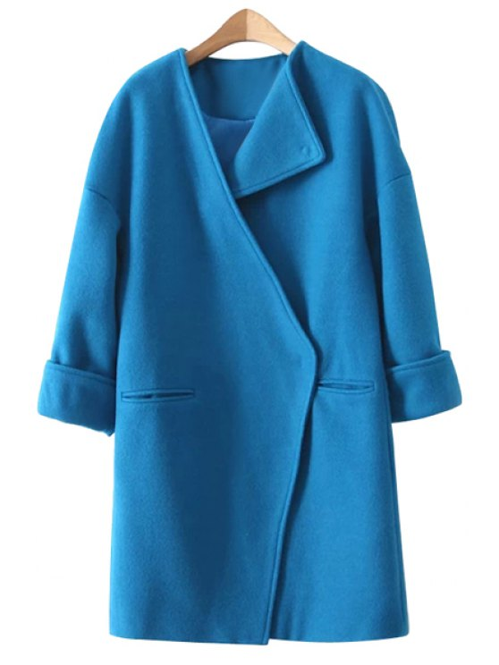unique Solid Color Long Sleeve Worsted Coat - BLUE M