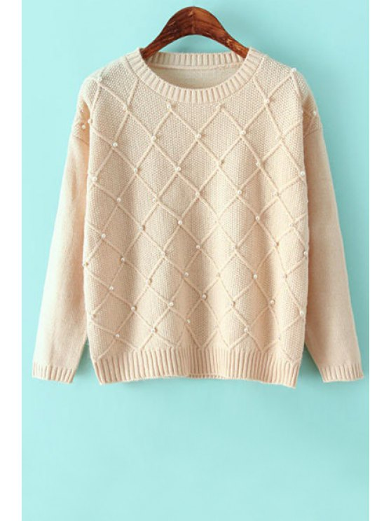 online Argyle Long Sleeve Beaded Sweater - OFF-WHITE ONE SIZE(FIT SIZE XS TO M)