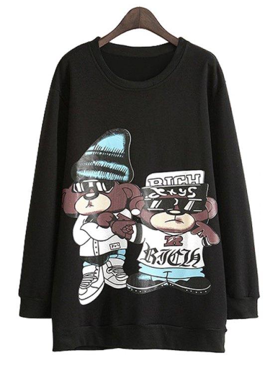 shop Bear Print Long Sleeve Sweatshirt - BLACK M