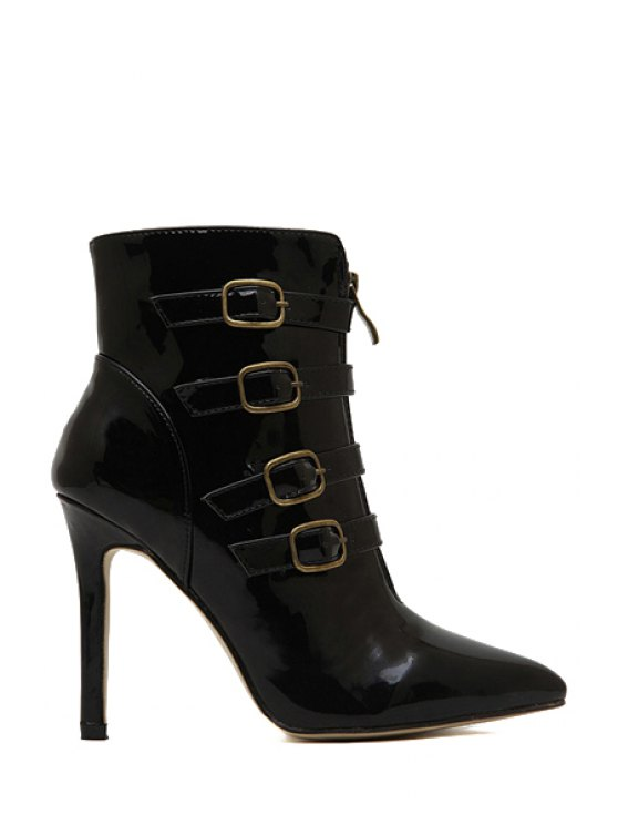 outfit Patent Leather Buckle Stiletto Heel Boots - BLACK 35