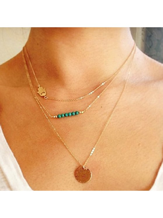 women Charming Solid Color Sequins Embellished Multi-Layered Women's Necklace - AS THE PICTURE