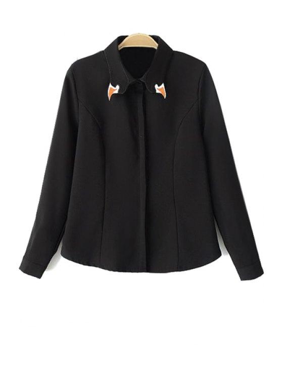 shop Embroidery Long Sleeve Shirt - BLACK S