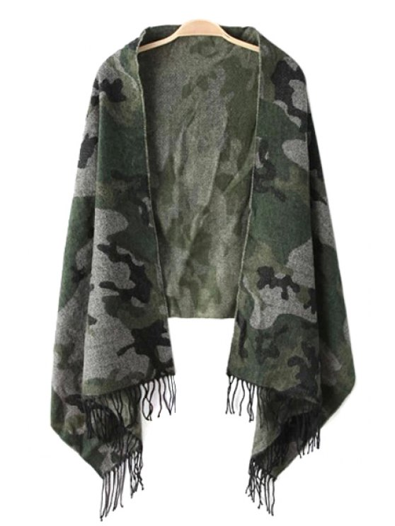 chic Camouflage Pattern Tassels Pashmina - AS THE PICTURE