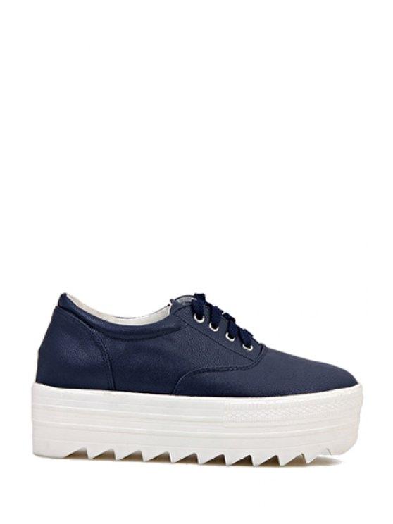 fancy Round Toe Solid Color Lace-Up Platform Shoes - BLUE 35