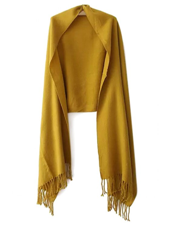 womens Solid Color Tassels Pashmina - GINGER