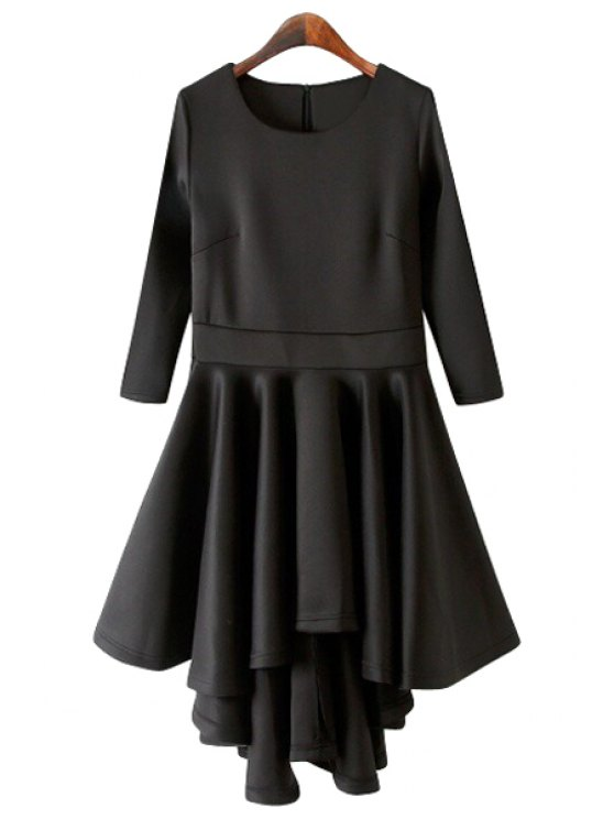 lady Solid Color 3/4 Sleeve Flouncing Dress - BLACK S