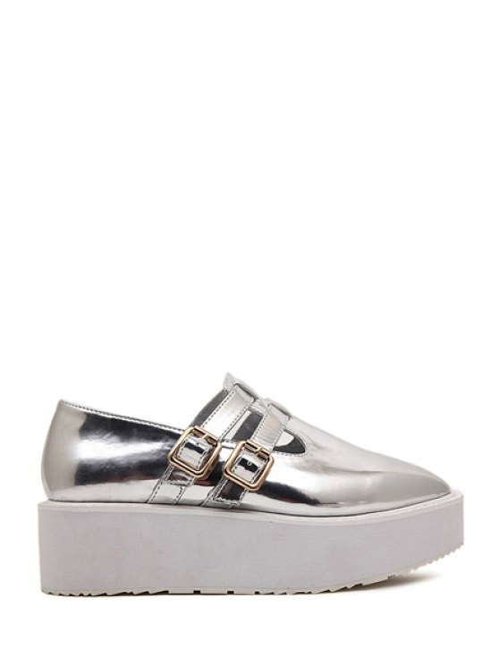 new Square Toe Patent Leather Buckle Shoes - SILVER 35