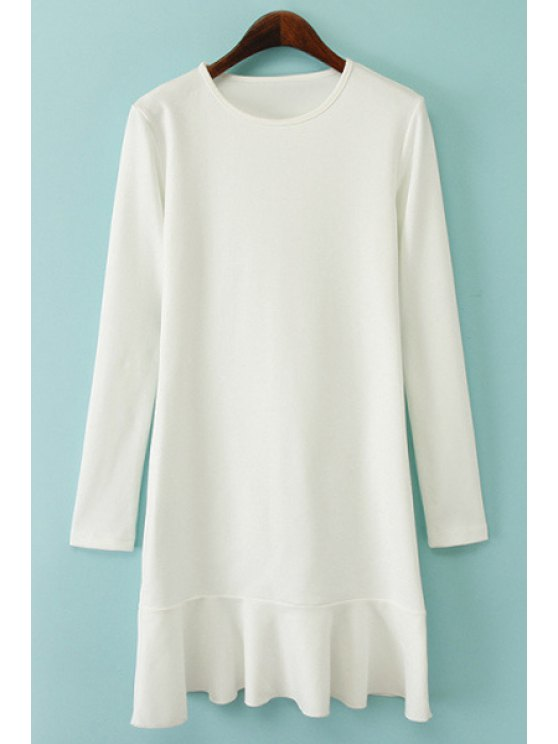 affordable Solid Color Long Sleeve Ruffles Dress - WHITE S