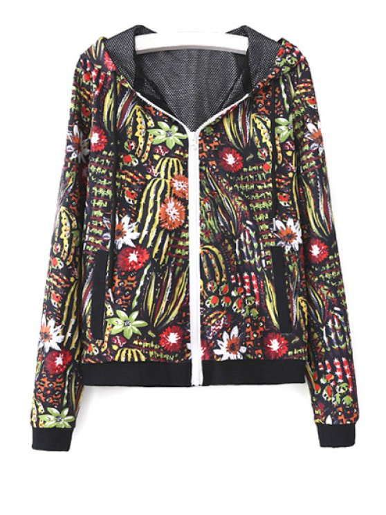 shops Floral Hooded Long Sleeve Coat - AS THE PICTURE S