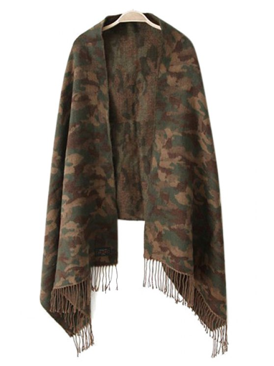 lady Camo Print Tassels Pashmina - LIGHT BROWN