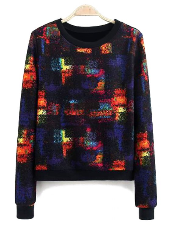 fashion Colorful Pattern Long Sleeve Sweatshirt - COLORFUL S