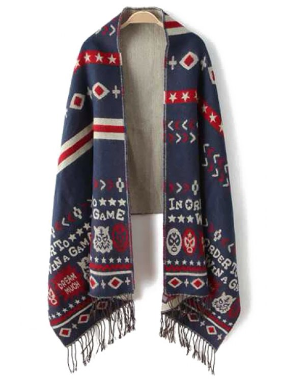 hot Face Letter Print Tassels Pashmina - AS THE PICTURE