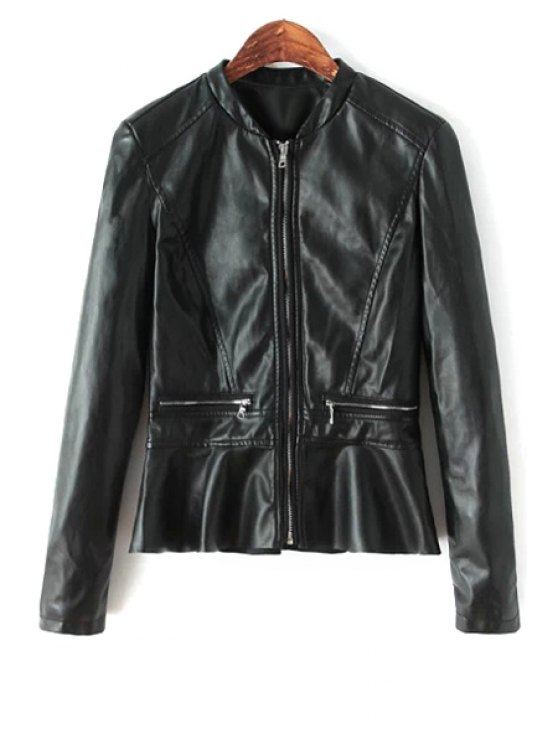outfit PU Leather Long Sleeve Ruffles Jacket - BLACK S