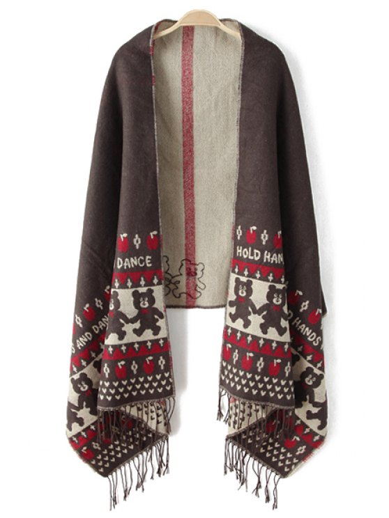 outfit Apple Bear Print Tassels Pashmina - AS THE PICTURE