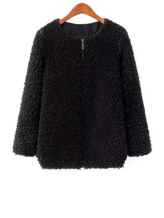 ladies Long Sleeve Black Lamb Wool Coat - BLACK S