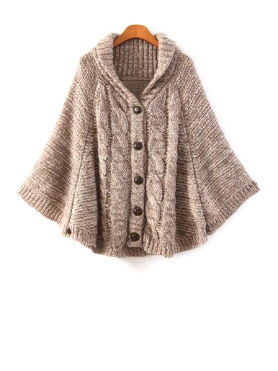 best Cable-Knit Cape-Style Cardigan - KHAKI ONE SIZE(FIT SIZE XS TO M)