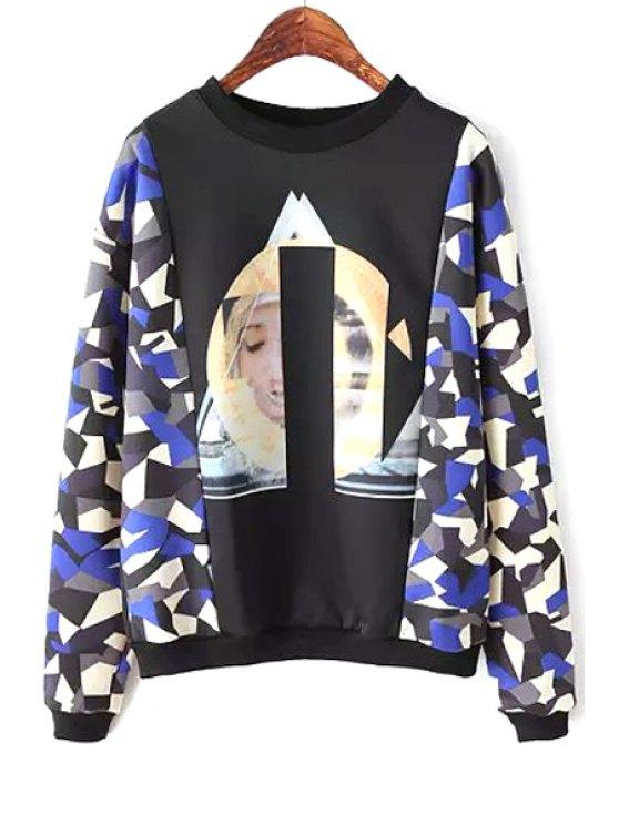 buy Print Splicing Long Sleeve Sweatshirt - BLACK S