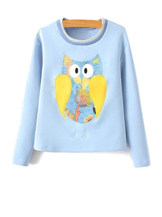 best Owl Pattern Long Sleeve Sweatshirt - ICE BLUE S