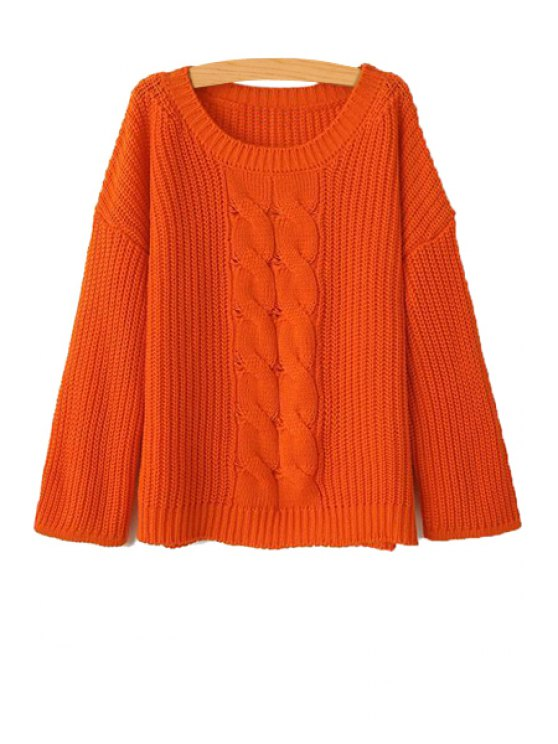 hot Solid Color Scoop Collar Sweater - JACINTH L