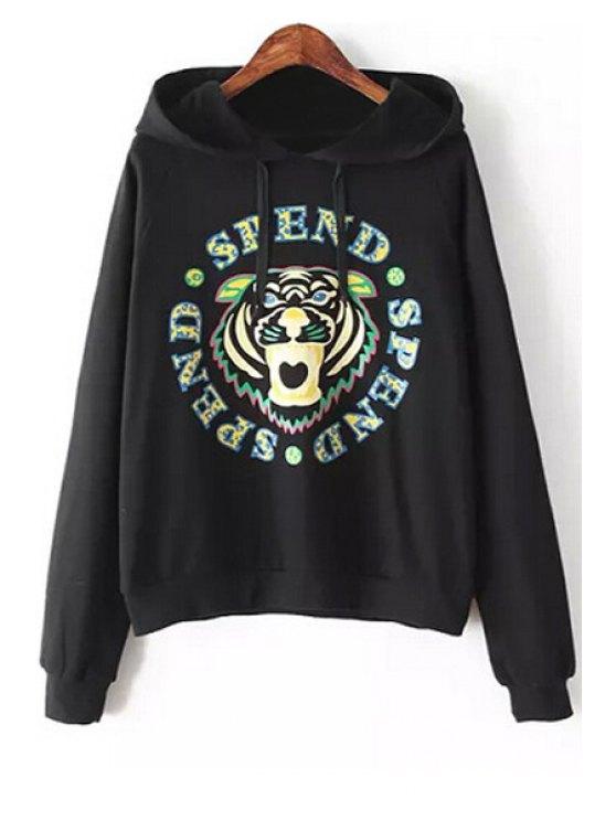 sale Print Long Sleeve Hoodie - BLACK S