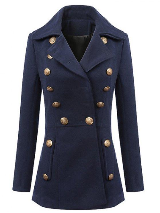 trendy Fashionable Lapel Solid Color Buttons Long Sleeve Coat For Women - PURPLISH BLUE XL