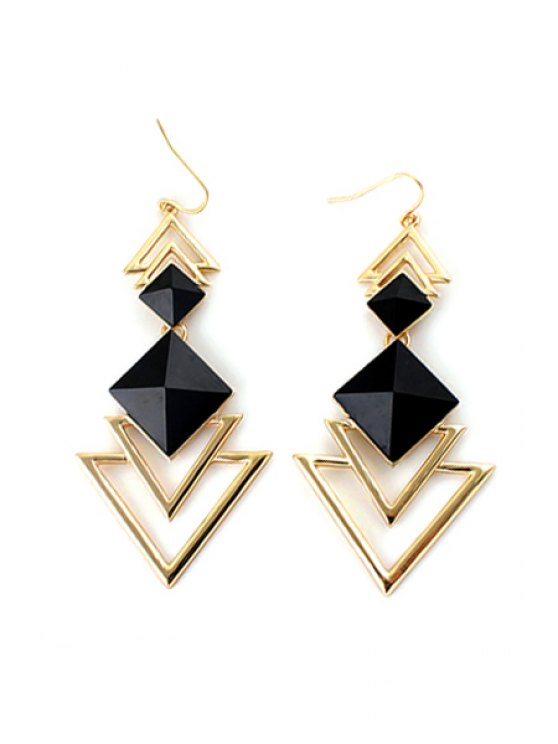 women's Pair of Faux Gem Decorated Triangle Pendant Earrings - BLACK