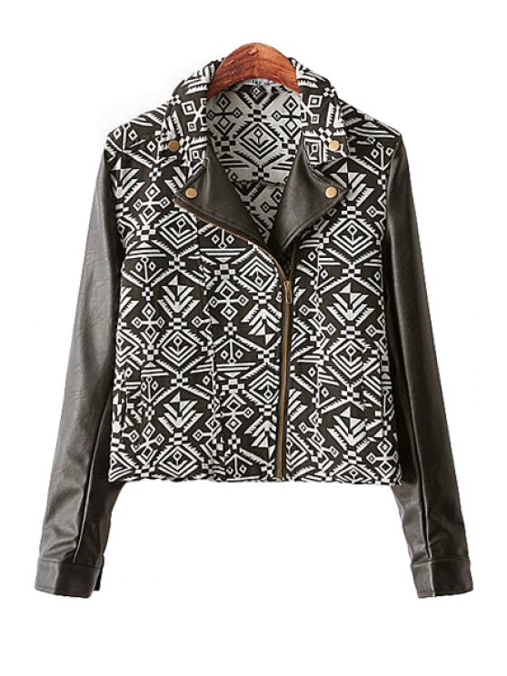 shop Print PU Leather Splicing Lapel Jacket - WHITE AND BLACK S