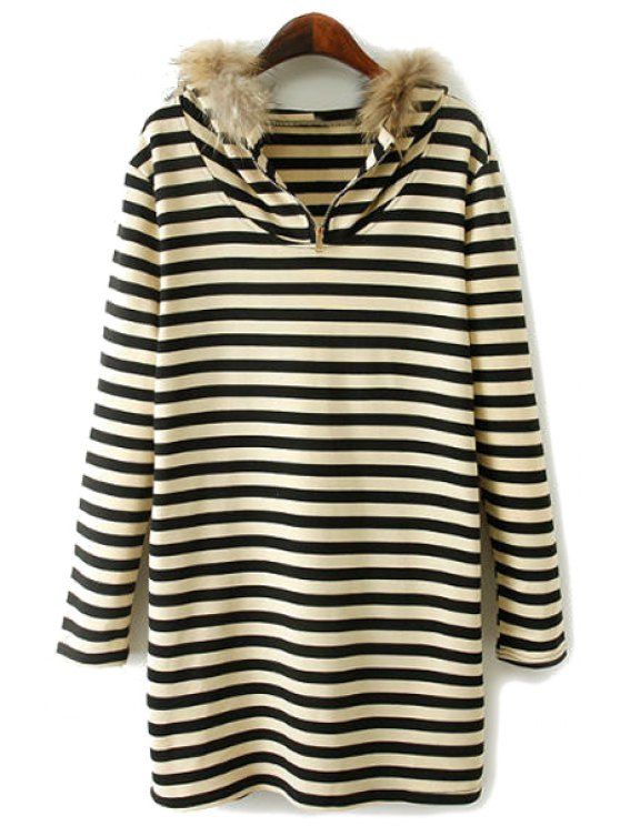 trendy Striped Hooded Faux Fur Splicing Dress - WHITE AND BLACK S