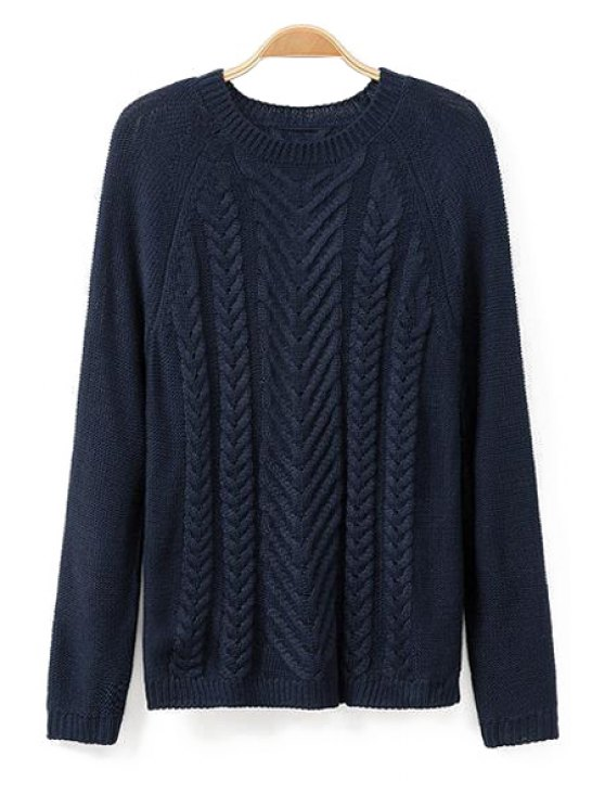 trendy Cable-Knit Solid Color Sweater - CADETBLUE S
