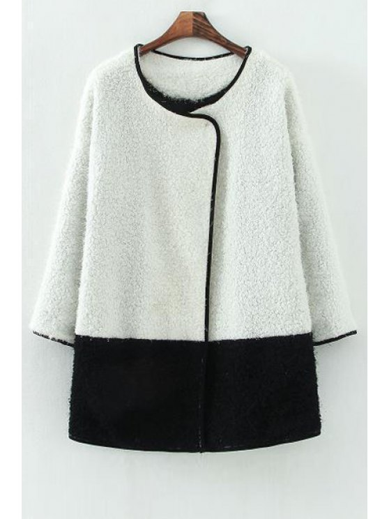 sale Color Block Scoop Collar Coat - WHITE AND BLACK S