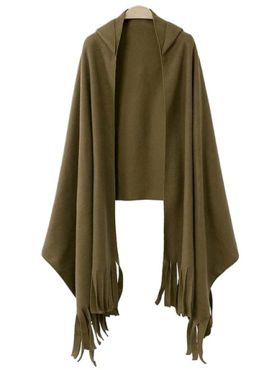 unique Hooded Fringe Cape-Style Coat - ARMY GREEN ONE SIZE(FIT SIZE XS TO M)