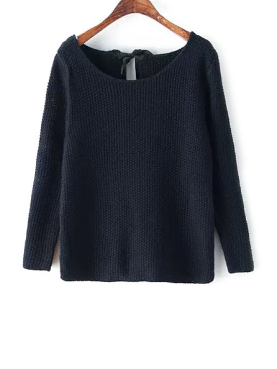 online Solid Color Long Sleeve Lace-Up Sweater - PURPLISH BLUE M