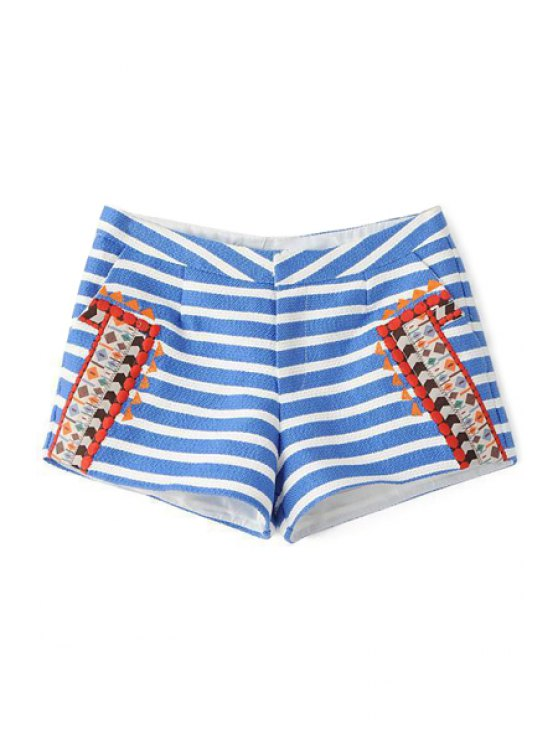 trendy Striped Ethnic Embroidery Shorts - BLUE AND WHITE XS