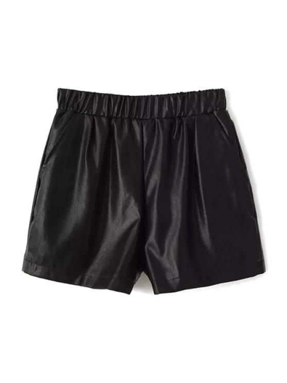 fancy Black PU Leather Shorts - BLACK S
