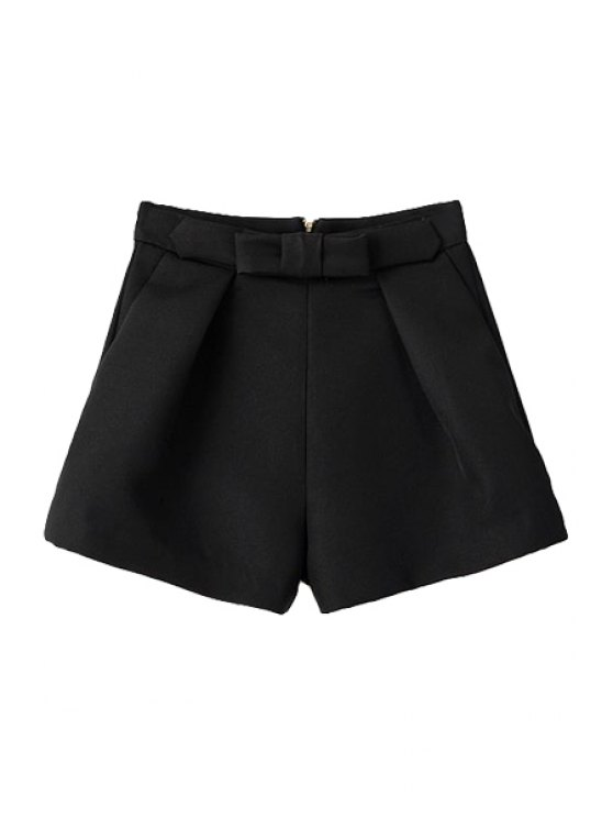 affordable Solid Color Bowknot Wide Leg Shorts - BLACK S