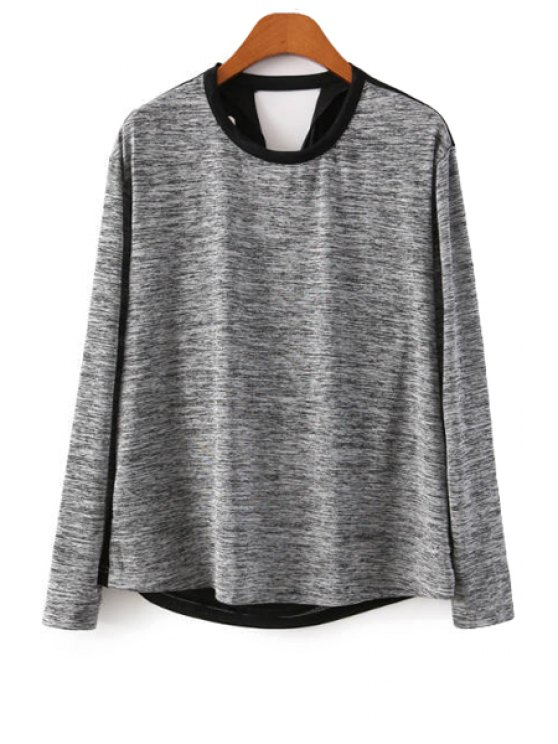 fashion Color Block Long Sleeve Knitwear - BLACK AND GREY S