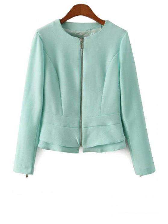 outfit Solid Color Ruffles Splicing Coat - GREEN S