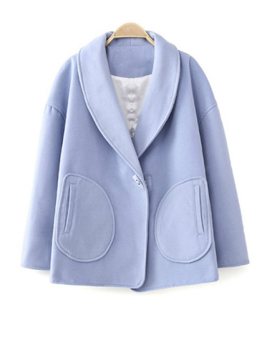 shops Turn-Down Collar Solid Color Coat - BLUE S