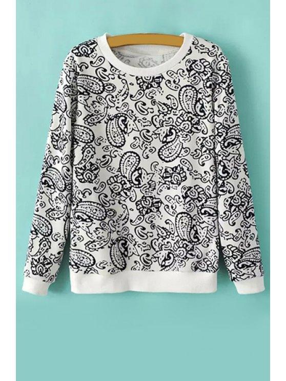 lady Long Sleeve Floral Print Sweatshirt - WHITE S