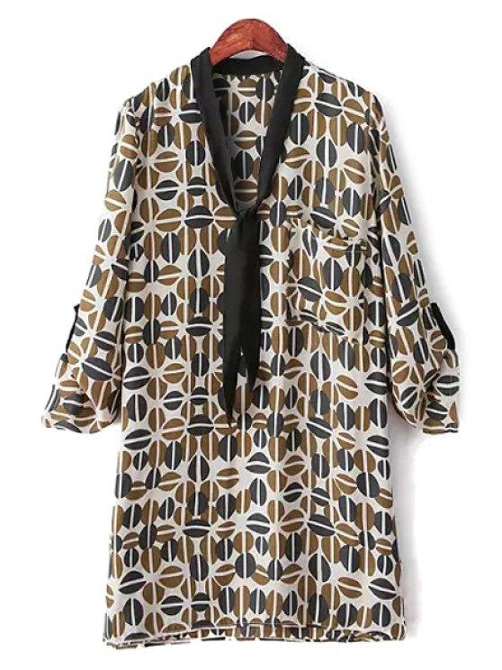 shops Print Long Sleeve Lace-Up Blouse - COLORMIX S