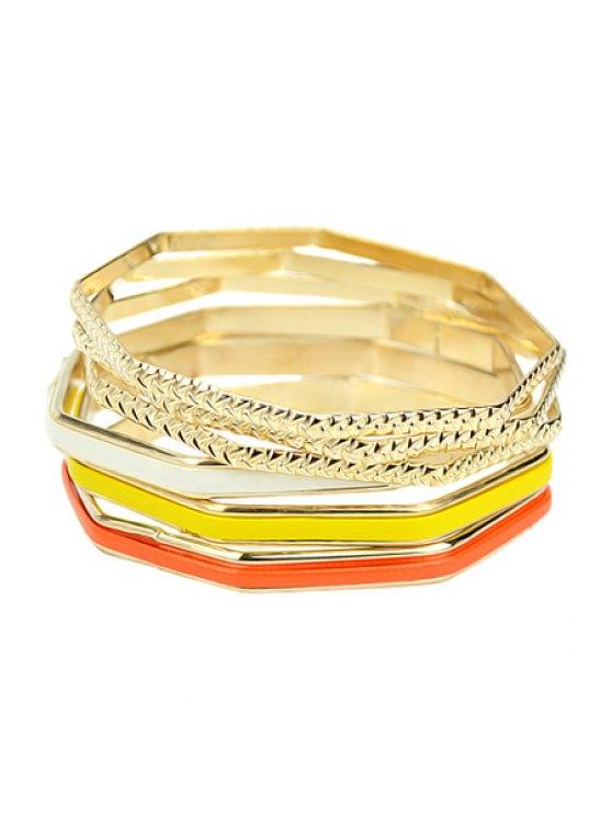 shop 6 PCS Geometric Design Bracelets - YELLOW