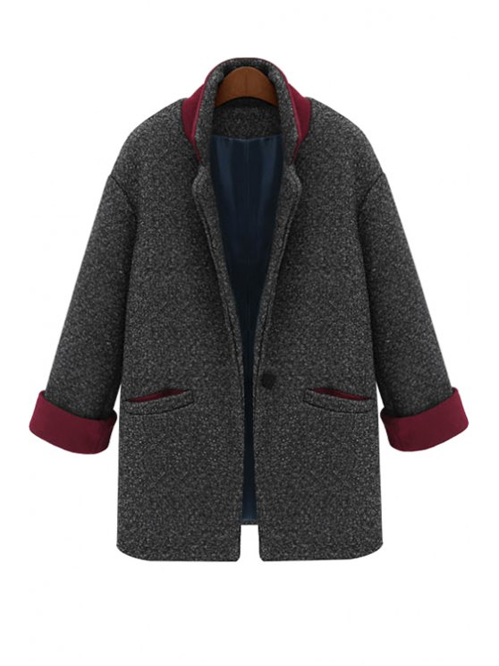 shops Color Block Lapel Worsted Coat - DEEP GRAY S