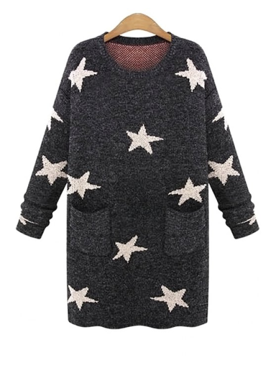 unique Long Sleeve Star Pattern Sweater - DEEP GRAY ONE SIZE(FIT SIZE XS TO M)